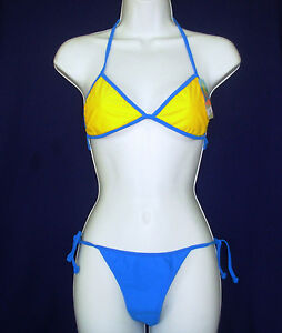 Bikini swim suit one sz Cocot Tri Tie bathing S American sz L OS Blue Yellow OS