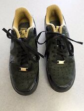 """Nike """"Air Force 1"""" Black Patent Leather with Gold Trim. Women's 12  (Eur 44.5)"""