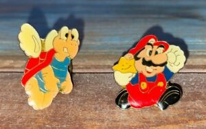 Vintage Nintendo Super Mario & Koopa Paratroopa Troopa Lapel Enamel Pin Lot of 2