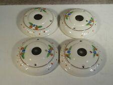 "4 Antique Porcelain Ceiling Light Fixture Bases Hand Painted Floral Pattern 6"""