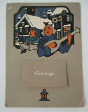 1925 Holiday Greetings Calendar with Christmas Carolers Illustration