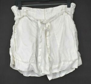 Joie Women Ivory Flat Front Elastic Waist Tie Up Belt Loose Casual Shorts 2