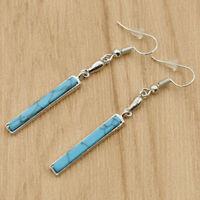Women Silver Plated Turquoise Earrings Dangle Drop Ear Hook Elegant Jewelry