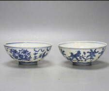 More details for good pair of antique chinese blue & white bowls- 6 character mark- 12cm diameter