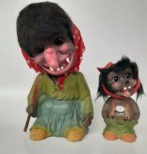 2  Heico  Bobble Head  Troll Western Germany Vintage Halloween Creepy Nodder