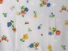 EUC! Vtg QUEEN FLAT Sheet Retro Petite Floral Bright Multi-Color Fabric Rainbow