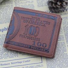 Mans Marrón Dólar estadounidense Bill Estilo Cartera Imitación Cuero doble pliegue soporte tarjeta de crédito