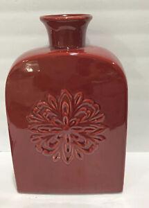 "Modern Art Pottery Decorative 13"" Red Burgundy Embossed Floral Rectangular Vase"