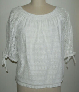 Women's Chico's Size 2 White Lace Tie-sleeve Peasant Blouse Lined Rayon/Cotton