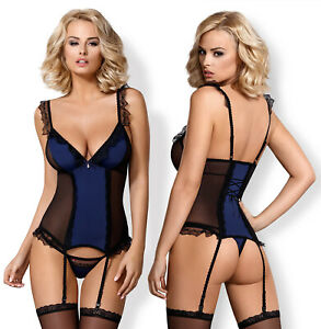 OBSESSIVE 825 Luxury Corset, Attached Garter Straps and Matching Thong Set
