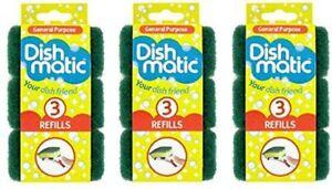 9 x Dishmatic Heavy Duty Green Refill Sponges Cleaning Scourer