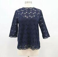 J.CREW Collection Blouse Top XS Lustre Lace Floral Mockneck Tee Navy Blue