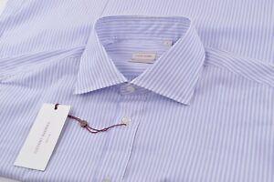 NWT Luciano Barbera Size Large Dress Shirt New Blue & White (Purple Appearance)