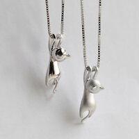 Damen 3D Silber plattiert Halsketten Mit Katzen Anhänger Kette Cats Modeschmuck