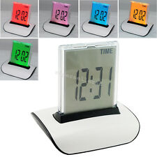 From USA 7 ColorS LED Change Digital Alarm Clock LCD Thermometer Calendar Office