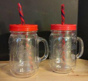 Set of 2 - Aladdin Mason Jar Plastic Insulated Drinking Tumblers Handles Lids