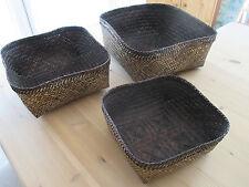 3 schöne Deko Bast Stroh Körbe Aufbewahrung Bad Küche
