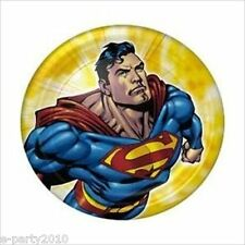 SUPERMAN SMALL PAPER PLATES (8) ~ Birthday Party Supplies Cake Dessert Yellow