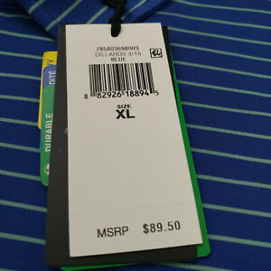 RLX Ralph Lauren Performance Golf Polo Shirt Size XL Striped UPF 50+ Blue