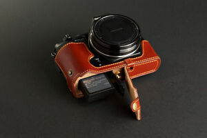 Genuine real Leather Half Camera Case bag cover for Olympus STYLUS 1 Bottom open