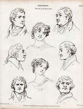 1816 georgian print ~ peinture ~ diversities of the human face