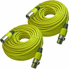 2 Premium 100 ft foot YELLOW 3pin XLR male to female powered speaker mic cables