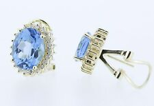 14KT Yellow Gold Blue Topaz With Diamonds and French Clip Earrings