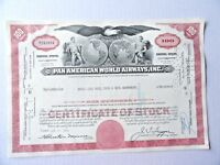Pan Ameican World Airways Stock Certificate Merrill Lynch 100 Shares 1969