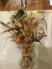LARGE FLORAL CENTERPIECE, Floral With wheat feathers etc lighted vase pitcher