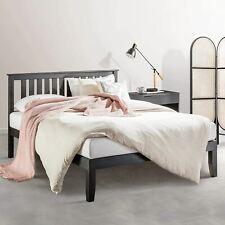 Mellow Marley 14-Inch Solid Wood Platform Bed with Paneled Headboard, Ebony Blac