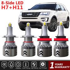 2 Pair 8-Side LED Headlight Combo H7+H11 High-Low Beam Bulbs Fog Light Kit 6000K