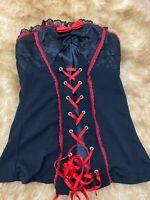 Desiyer black red strapless cotton Camisole Top sleepwear nightwear size M/L