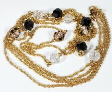 Swavorski Necklace Gold Chain Rhinestones  Glass Czech Beads Silver Long Drop