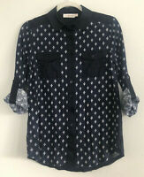 Tory Burch Navy Blue Linen Button Down Tab Sleeve Blouse Womens XS