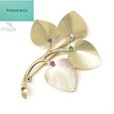 NYJEWEL Tiffany & Co 14k Gold Multi Color Gemstone Diamond Heart Leaf Pin Brooch