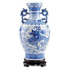 ufengke®Blue And White Porcelain Binaural Dragon Vase