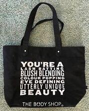 The Body Shop Tote Canvas Bag Lash Batting Quote Beauty Black Silver Glitter