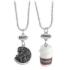 1 Set Halsketten Freundschaftsketten Kaffee Keks, Braun Weiß, 2 Stück Schmuck