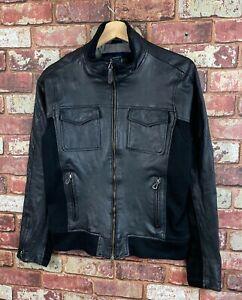 Armani Jeans Mens Leather Jacket Size Small J748