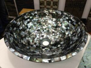 Round Marble Wash Basin Sink with Abalone Shell Stone Overlay Work Bathroom Sink
