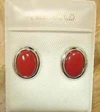 6X8MM GENUINE NATURAL OVAL RED CORAL SOLID 14K WHITE GOLD POST STUD EARRINGS #3