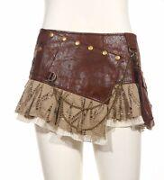 Steampunk Punk Cyber Rave Sexy Free Size Brown Mini Skirt by RQBL