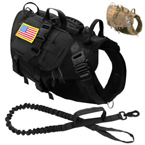 Military Tactical Dog Harness and Lead Set Large Strong Molle Vest & Pouch Bag