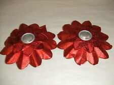 Vintage Happy Holidays Brand 2pc Foil Poinsettia Candle Holders #431