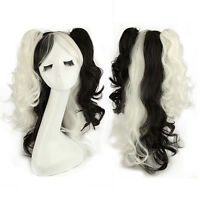 """60cm 24"""" Women Girl 2 Ponytails Curly Mix Color Cosplay Full Wig Black + White"""