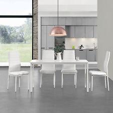 [en.casa]® Set de comedor - mesa + 4 sillas 120x60cm blanco set cocina salón
