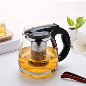Glas Teekanne Teebereiter 2 Liter Groß mit Edelstahl Sieb Filter Deckel Tea Pot