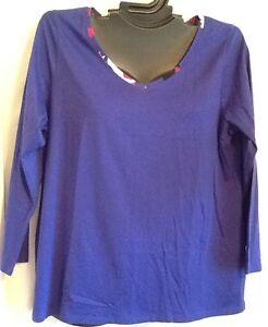 14/16 Purple Cacique Pajama PJ COTTON Sleep Top Shirt Loungewear Lane Bryant