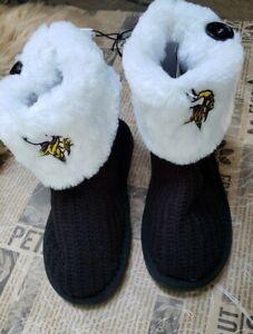 NFL Minnesota Vikings Football Ladies Knit High End Button Slipper Boot SZ Small