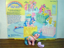 BABY RAINFEATHER Drink 'N Wet w/ Necklace, Comb & Card My Little Pony G1 Vintage